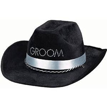 """Amscan Avant Garde Groom To Be Cowboy Hat Bachelor's Party Novelty Favors, 16 x 9.5"""", Black"""