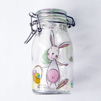 Easter Glass Jar Milk Bottle Bunny Wire Latch Lid Jellybean holder gift basket decoration Peter Cottontail Spring Eggs Basket
