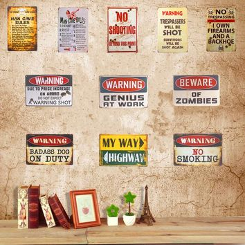 Retro Vintage Metal Tin Sign Plaque Warning Poster Man Cave Rules