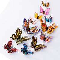 2016 wall sticker 12pcs set 3d butterfly wall decor Mural vinilos paredes Home Decor Mural Decal Living Decor For Kids Rooms