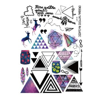 20.9*15.1cm Geometric Beauty Tattoo Waterproof Hot Temporary Tattoos Triangle Tattoos Modern Style Unisex Body Tattoos