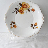 Vintage 1950s Royal Imperial Yellow Roses Cake Plate/Made in England/Royal Imperial China Plate Adorned with Yellow Roses Pattern