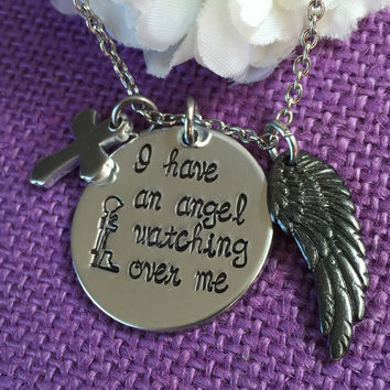 Fallen soldier Memorial - Military Cross - Remembrance Necklace - I have an angel watching over me - Soldier family remembrance - black wing