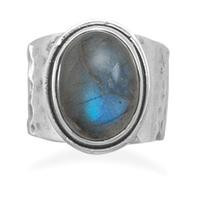 Oval Labradorite Hammered Ring