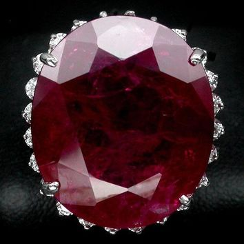 A Natural 14K White Gold 45.5CT Oval Cut Blood Red Ruby White Sapphire Ring