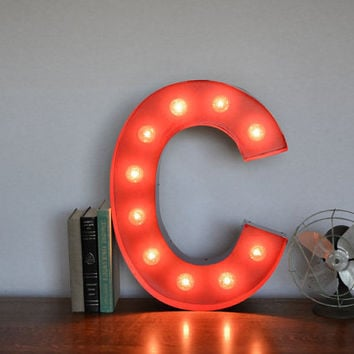 Vintage Inspired Marquee Light Letter C by SaddleShoeSigns on Etsy