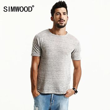 SIMWOOD Brand New Summer Shorts Sleeve T shirts Men 2017 100% Pure Linen  Fashion Tees Plus Size  O neck  Clothing  TD1171