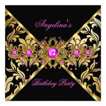 Hot Pink Gold Black Damask Sprinkle Birthday Party 5.25x5.25 Square Paper Invitation Card