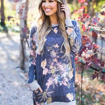 Floral Tiara Knit Pocket Tunic/Dress