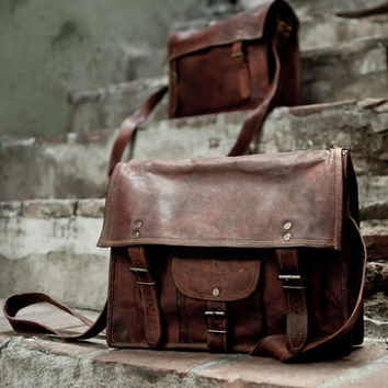 Distressed Leather School Bag Shoulder Bag Messenger Bag Vintage Leather Satchel