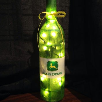 John Deere wine bottle lamp, bottle light, night light, green and yellow tractor, accent lamp, gift idea