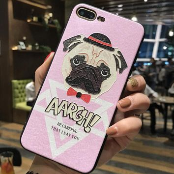 Aargh Dog Pattern Case for iPhone X 8 7 6S Plus &Gift Box