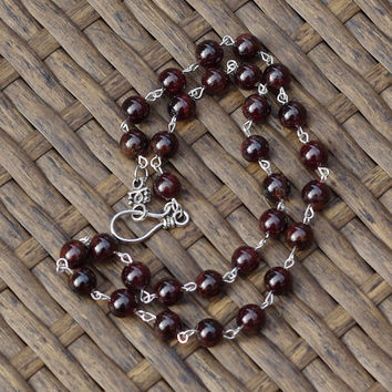 Men's Red Garnet Necklace ~ Unisex Necklace ~ Natural Stones ~ Tibetan Silver Clasp ~ Semi Precious ~ Stone Jewellery ~ Hippie Style