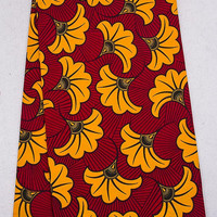 Red Yellow fabric by yards, Ankara fabric for African dress African wax Print cotton Fabric dutch wax prints super wax Yellow flowers