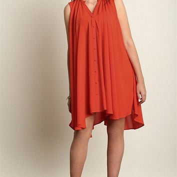 Plus Size Button Up Sleeveless Trapeze Dress