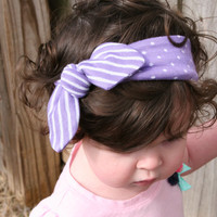 Top Knot Headband/ Polka Dot Striped Knotted Headband/ Infant Headband/ Toddler Headband/ Lavender Jersey Knit Headband
