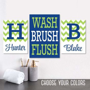Brother BATHROOM Wall Art, Kid Child Bathroom Art CANVAS or Prints Boy Brother Monogram Bathroom Wall Decor, WASH Brush Flush Set of 3