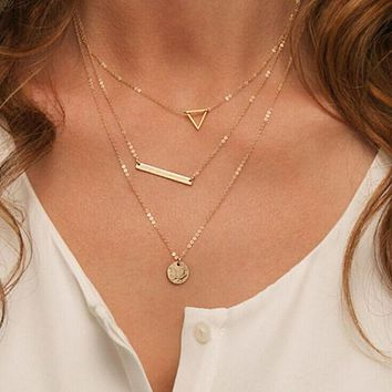 Summer Multilayer Necklaces Triangle Round Fashion