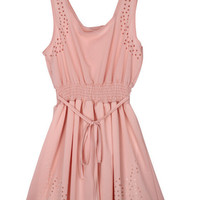Sleeveless Drawstring Chiffon Dress