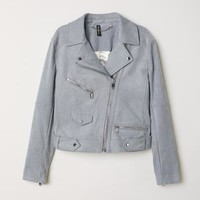 Faux Suede Biker Jacket - Gray-blue - Ladies | H&M US
