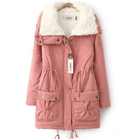Women Winter Wool Coats Jackets Suede Parka