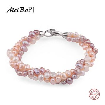 MeiBaPJ Natural Mixed Color Pearl Bracelet Pure Handmade Bangle Freshwater Pearl With Real 925 Silver Clasp Fine Jewelry SL-113