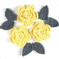 Set of 3 - Lovely Crocheted Yellow Rose Flower Appliques w Leaves