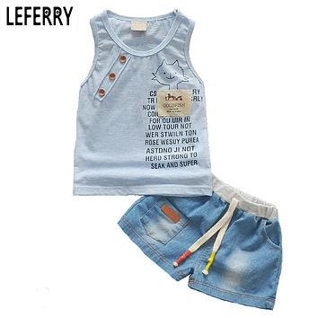 Kids Clothes Baby Boy Summer Clothes Set Tank Top + Jeans Shorts Children Toddler Boy Clothing Set Baby Clothes for Boys