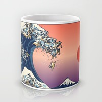 The Great Wave of Pug Mug by Huebucket | Society6
