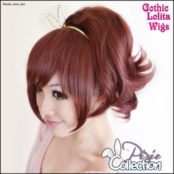 Gothic Lolita Wigs®  Pixie™ Collection - Ponytail 3 (Burgundy & Brown Mix) -00095