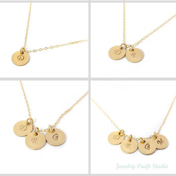 Personalized pendant necklace - Gold-filled initial and chain-Hand Stamped - simple,delicate,everyday wear, gift