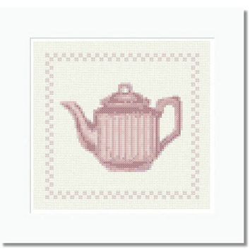 Striped Pink Teapot - PDF Cross Stitch Pattern - INSTANT DOWNLOAD