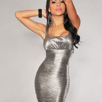 Silver Sleeveless Cut-Out Back Bodycon Dress