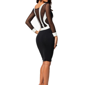 made2envy Sheer Mesh Back Long Sleeves White Cuffs Bodycon Dress
