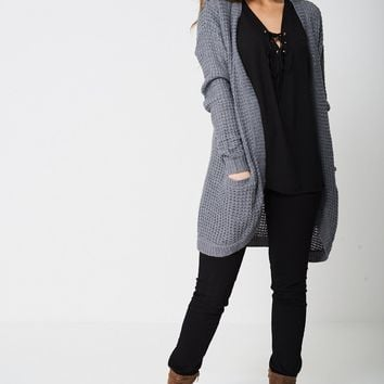 Knitted Cardigan In Light Grey Ex-Branded