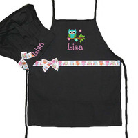 PERSONALIZED FREE Child's Black Owl Apron & Black Chefs Hat Owl Ribbon Trim Free Ship