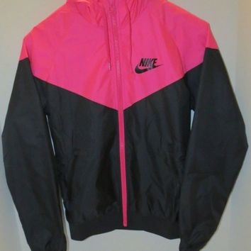 Nike Women's Windrunner Casual Zip Up lightweight Jacket X SMALL L Black PINK