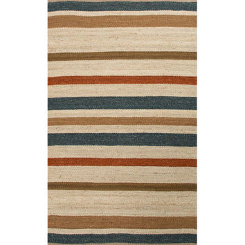 Jaipur RUG110939 Shores Ivory and Blue Rectangular: 5 Ft. x 8 Ft. Rug