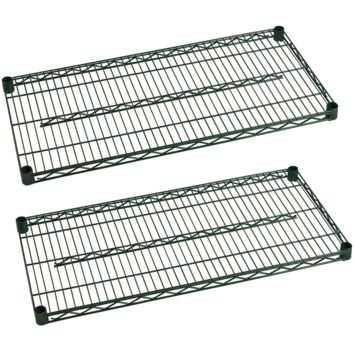 "Commercial Heavy Duty Walk-In Box Green Epoxy Wire Shelves 24"" x 42"" (Pack of 2)"