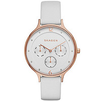 Skagen Anita Women's Leather Multifunction Watch - White