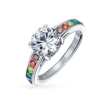 2CT Gay Pride CZ Solitaire LGBT Engagement Ring Stainless Steel Band