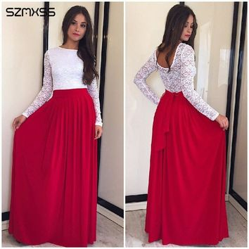 SZMXSS Spring Autumn 2018 Lace O-neck Robe Long Sleeve Patchwork Party Women Red Blue Dresses Casual Maxi Dress Backless Vestido