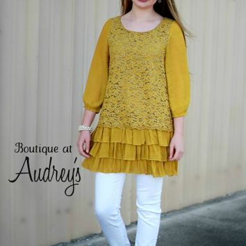 Mustard Tunic with Lace Front and Back and Ruffle Hem