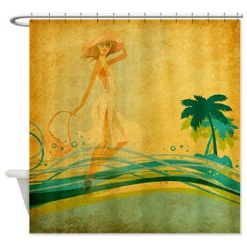 Vintage Beach Memories Shower Curtain> Tropical> Tropical Design Studio