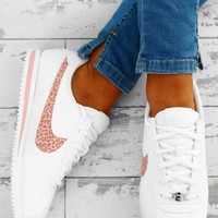 Nike Cortez White and Pink Leopard Trainers