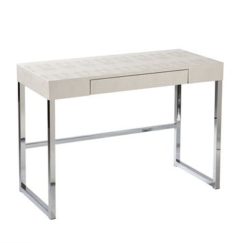 Southern Enterprises Vivienne Reptile Contemporary Desk in Cream