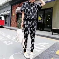 LMFON GUCCI' Fashion Personality Letter Print Hooded Short Sleeve Casual Set Two-Piece Sportswear