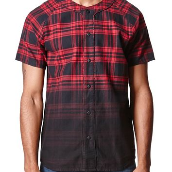 On The Byas Jack Dip Dye Plaid Baseball Jersey - Mens Shirt - Red