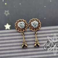 "Flower dangle plugs 14mm 9/16""  gauges stretched ears Eiffel Tower grey brass"