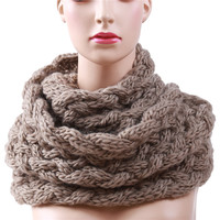 Winter Cable Ring Scarf Women Knitting Infinity Scarves Knitted Warm Neck Circle Scarf bufandas cuellos BZ988544